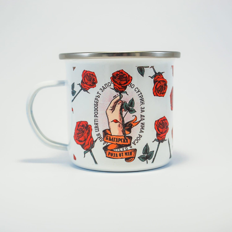 българска роза чаша метал с роза