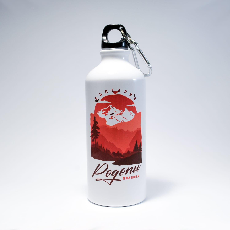 бутилка Родопи планина метал бял