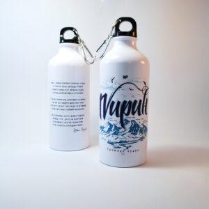 бутилка от метал бяла за вода с текст