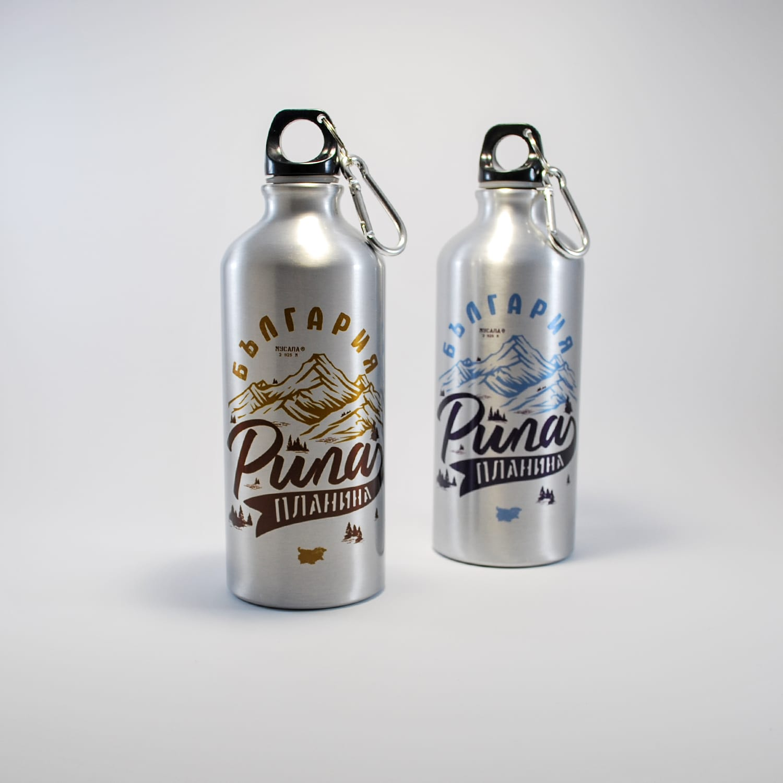 метална бутилка за планина пирин бяла металзрлрн син