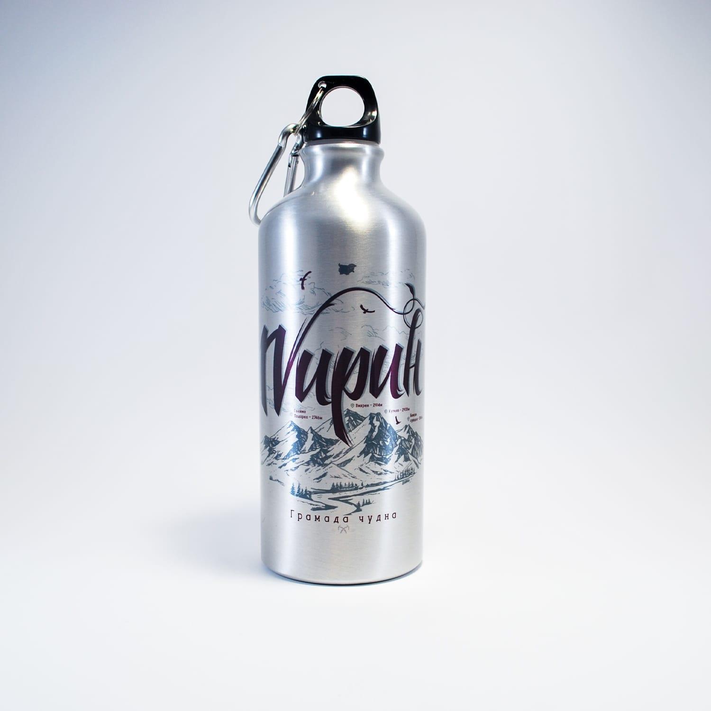 метална бутилка за планина пирин бяла метал син