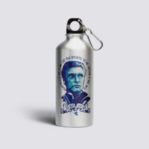 метална бутилка сива с илюстрация на левски син